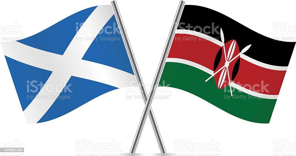 Scottish and Kenyan flags. Vector. vector art illustration