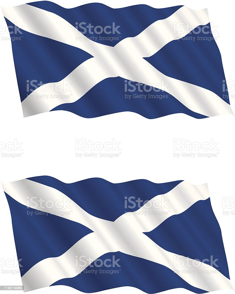Scottish Flag Flying in the Wind royalty-free stock vector art