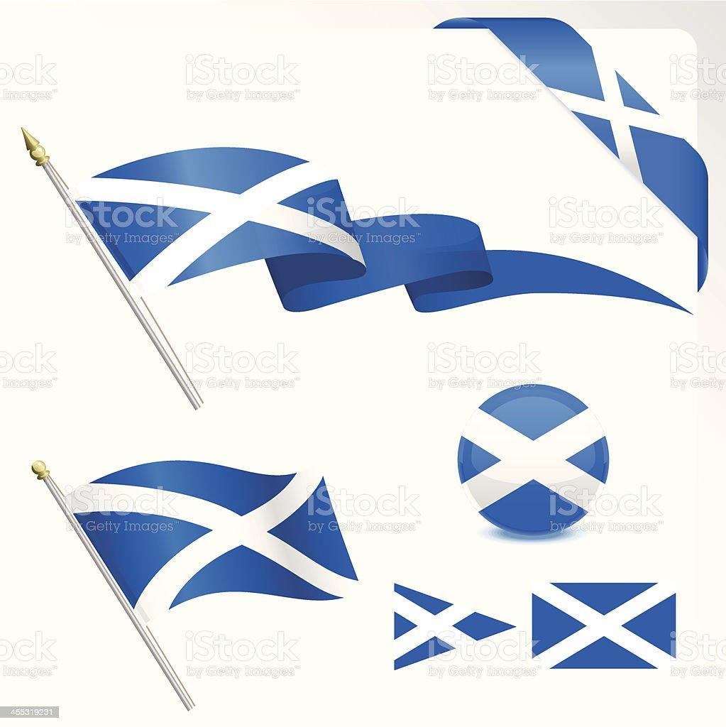 Scottish Flag Set vector art illustration