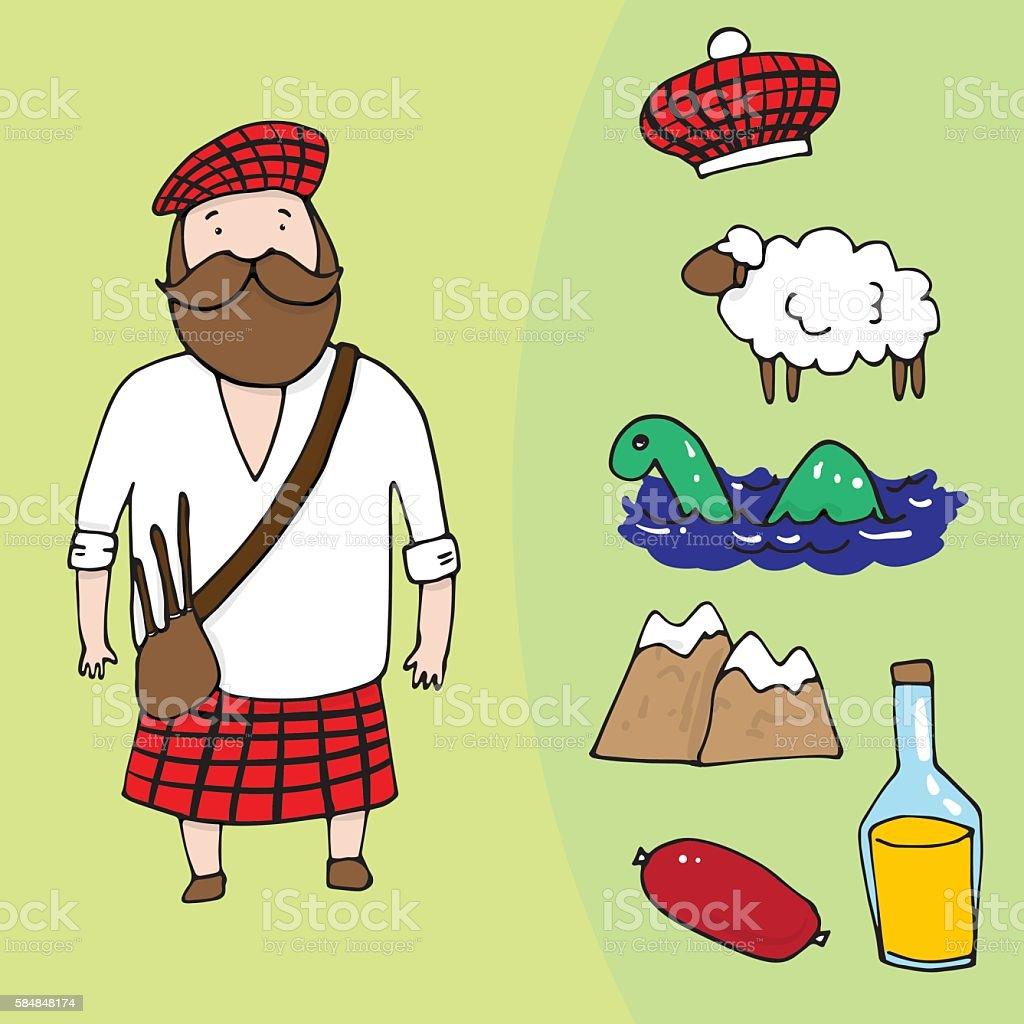 Scottish man and a set of different scottish elements vector art illustration