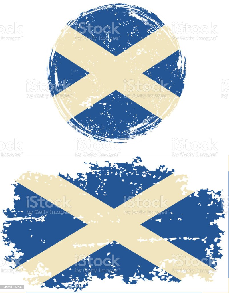 Scottish round and square grunge flags. Vector illustration vector art illustration