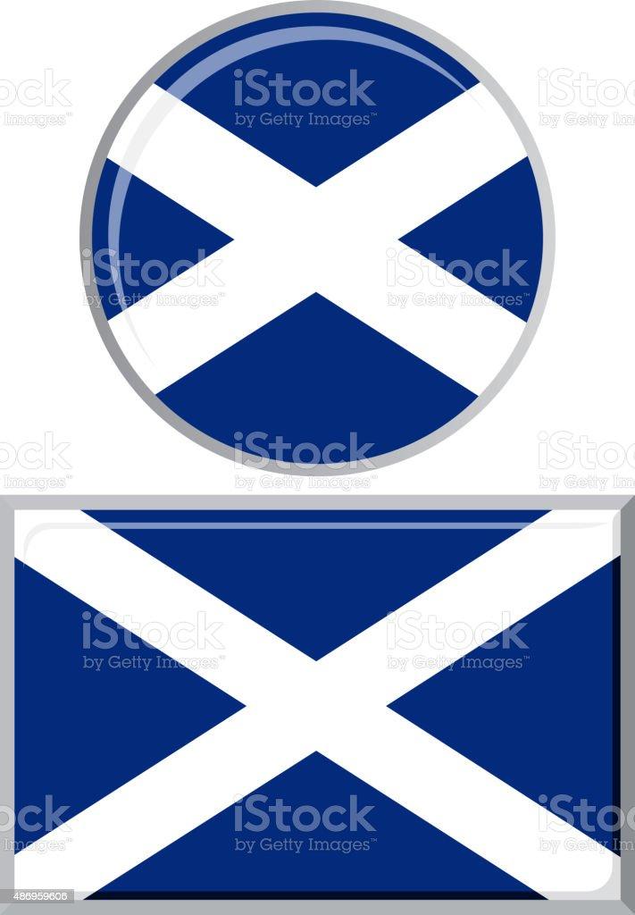 Scottish round and square icon flag. Vector illustration vector art illustration