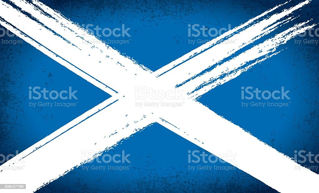 Scottish Saltire Flag Grunge vector art illustration