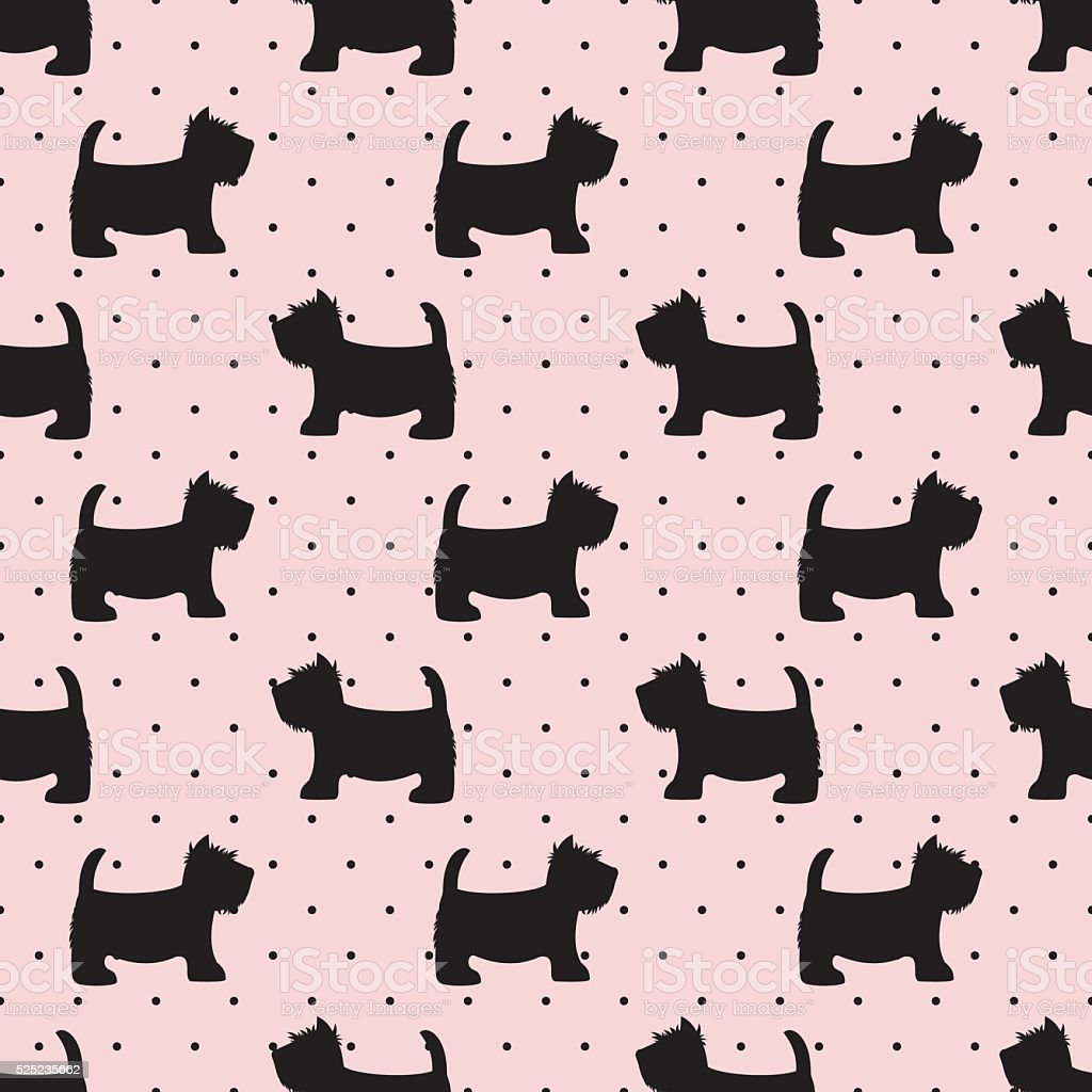 Scottish terrier seamless pattern. Dogs on pink polka dots background. vector art illustration