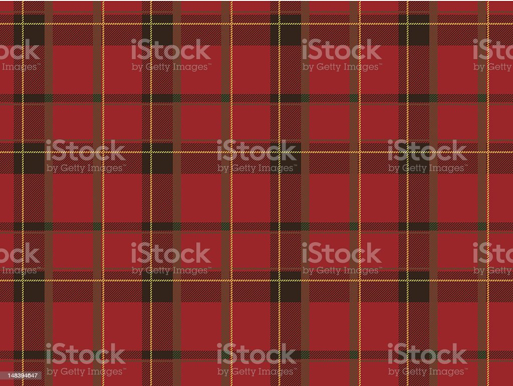 A Scottish textile that is mostly dark red  royalty-free stock vector art