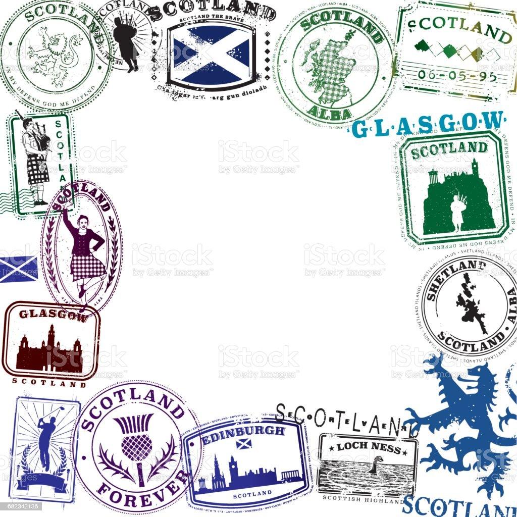Scottish Vintage Travel Stamp Layout vector art illustration