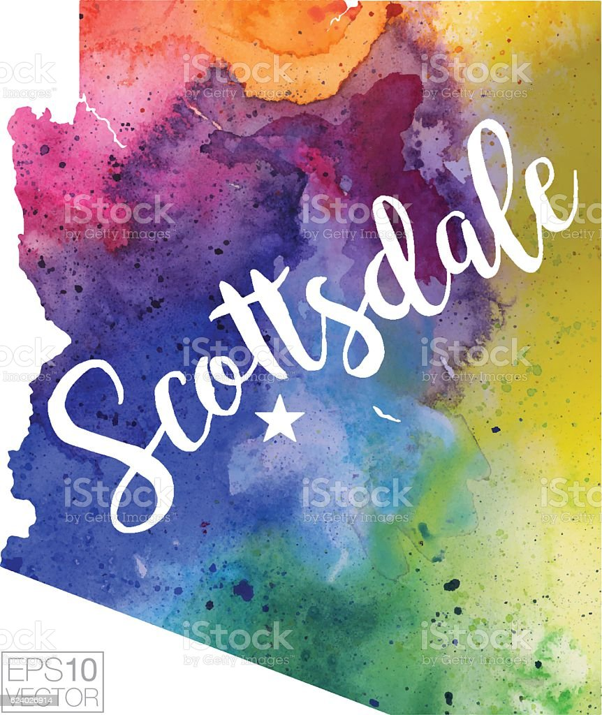 Scottsdale, Arizona Vector Watercolor Map vector art illustration