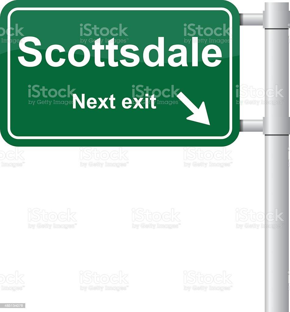 Scottsdale next exit green signal vector vector art illustration