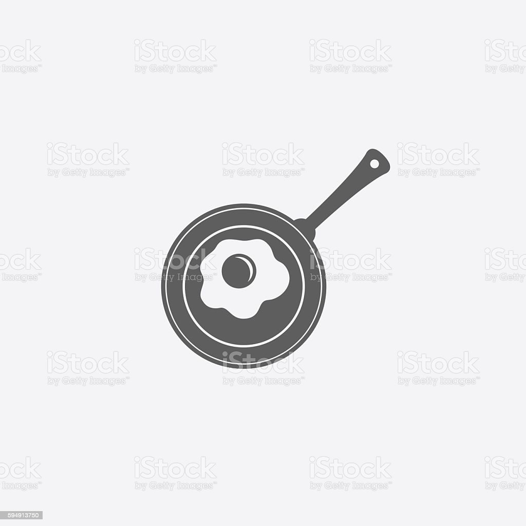 Scrambled egg icon vector art illustration