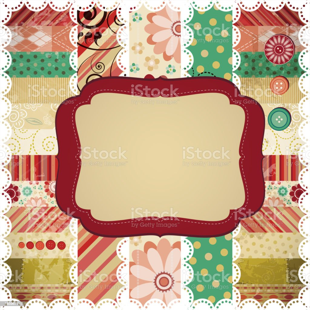 Scrap background made in the classic patchwork technique. royalty-free stock vector art