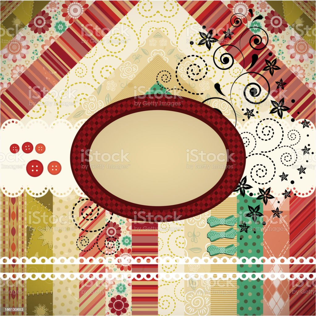 Scrap background made in the classic patchwork royalty-free stock vector art