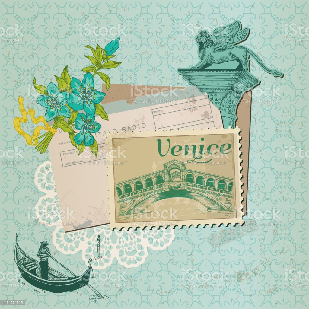 Scrapbook collage with drawings and an old Venice stamp royalty-free stock vector art