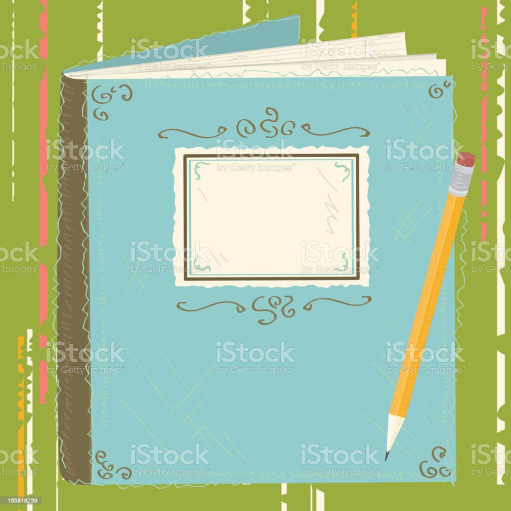 Scrapbook cover with pencil vector art illustration