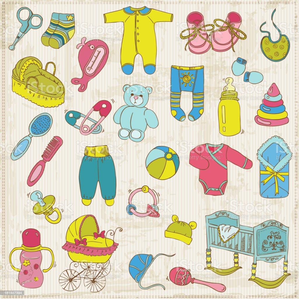 Scrapbook Design Elements - Baby Arrival Set royalty-free stock vector art