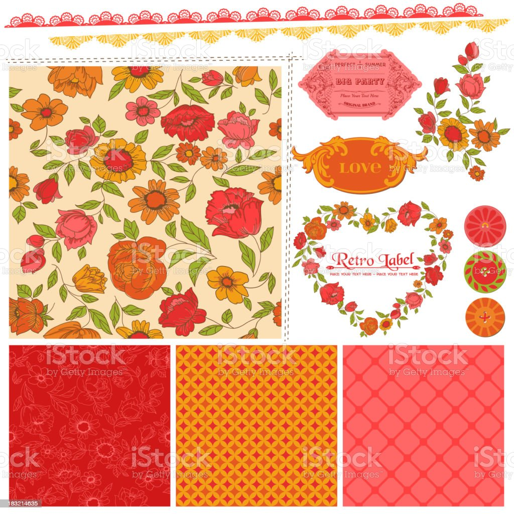 Scrapbook Design Elements - Orange Flowers and Poppies royalty-free stock vector art