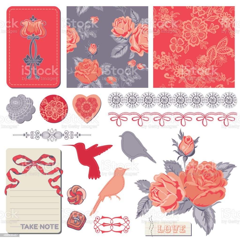 Scrapbook Design Elements - Vintage Roses and Birds royalty-free stock vector art