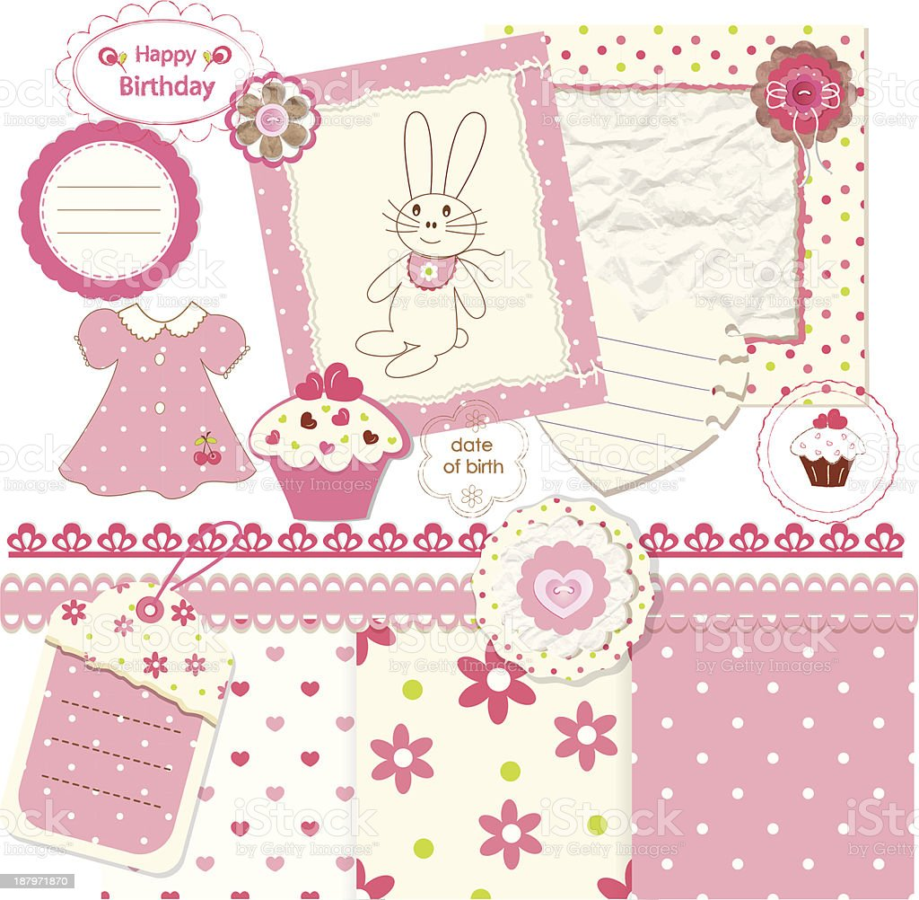 Scrapbook elements for baby girl royalty-free stock vector art