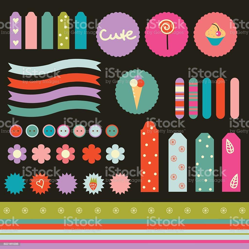 Scrapbook elements with cupcake, ice-cream and lollipop. vector art illustration