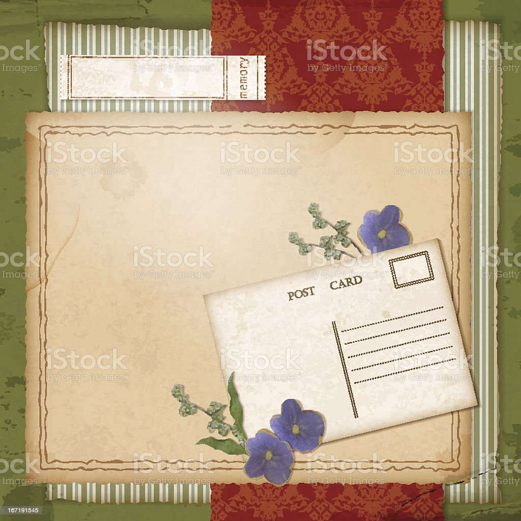 Scrapbook old paper background with dried flower royalty-free stock vector art