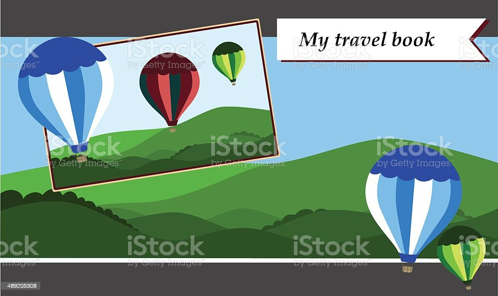 Scrapbook patterns for travel book vector art illustration