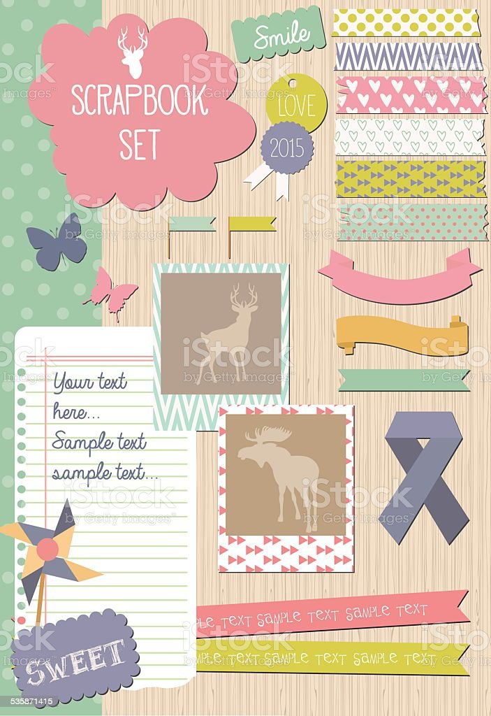 Scrapbook set vector art illustration
