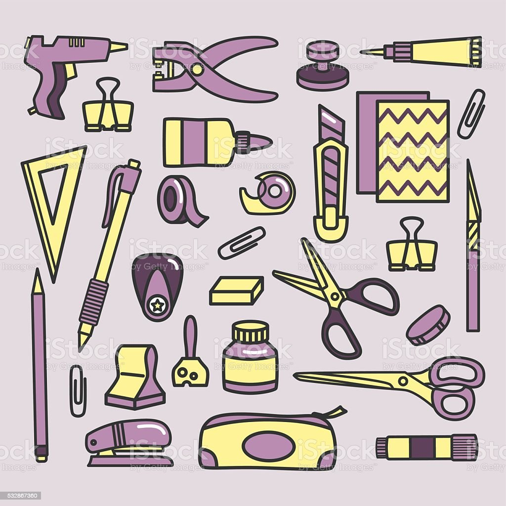 Scrapbooking tools icons vector art illustration