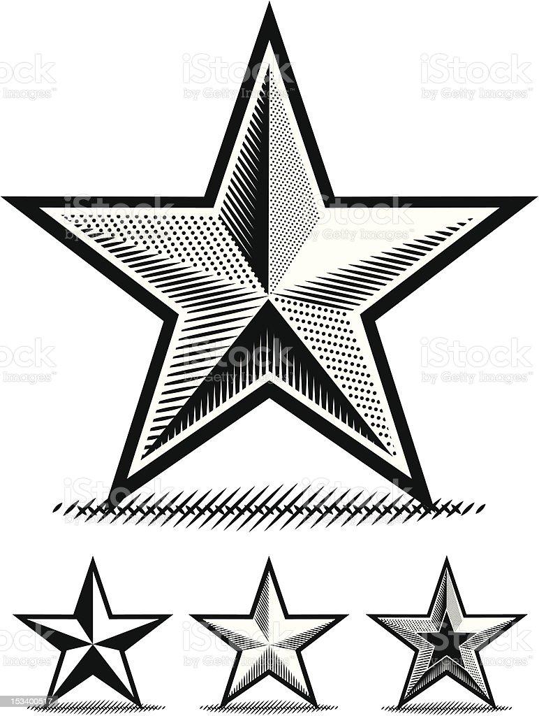 Scratchboard Star vector art illustration