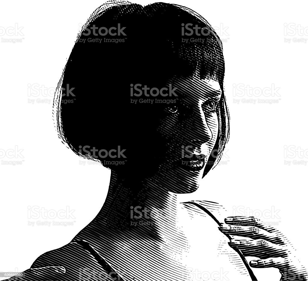 Scratchboard style Illustration Of A Cute Young Woman vector art illustration