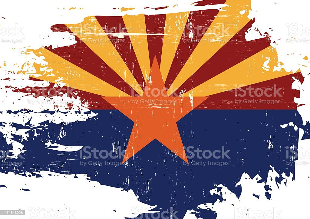 Scratched Arizona Flag vector art illustration