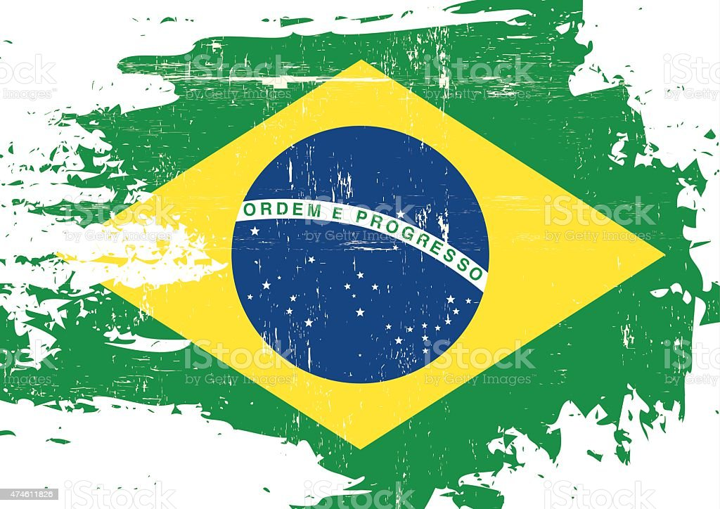 Scratched Brazilian Flag vector art illustration