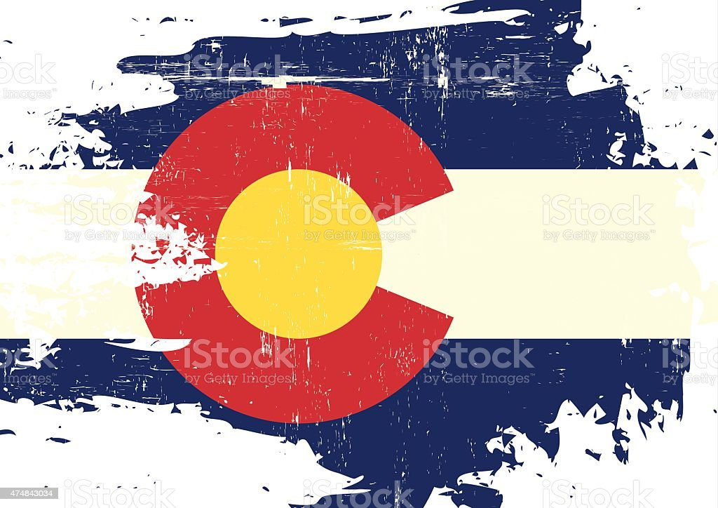 Scratched Colorado Flag vector art illustration