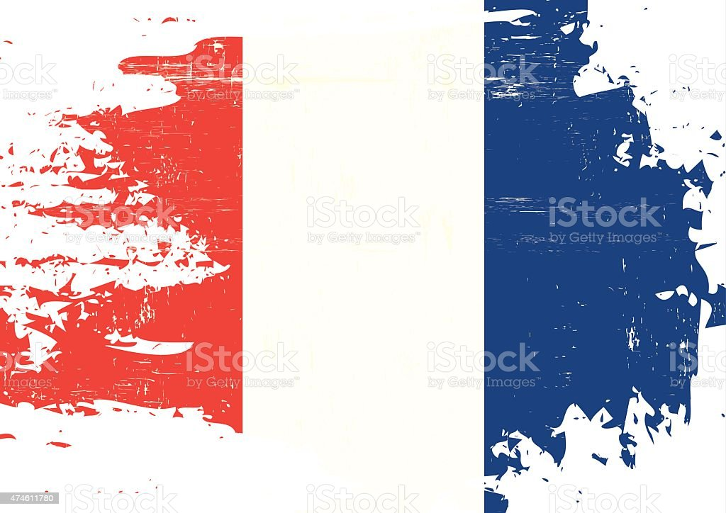 Scratched french Flag vector art illustration
