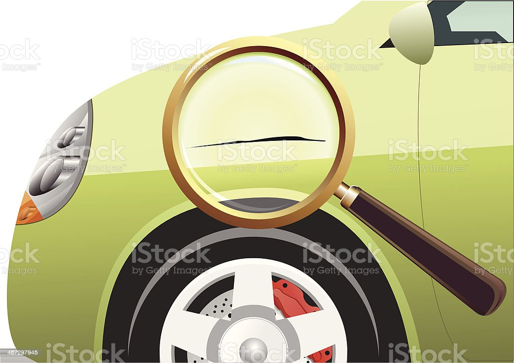 Scratched Green Car vector art illustration