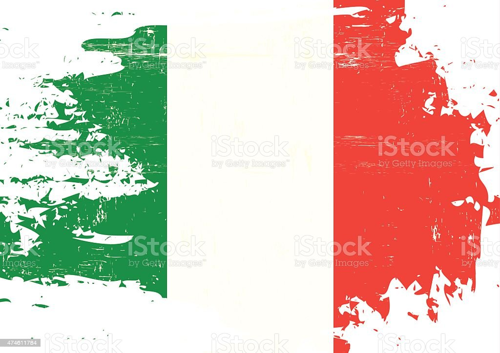 Scratched italian Flag vector art illustration