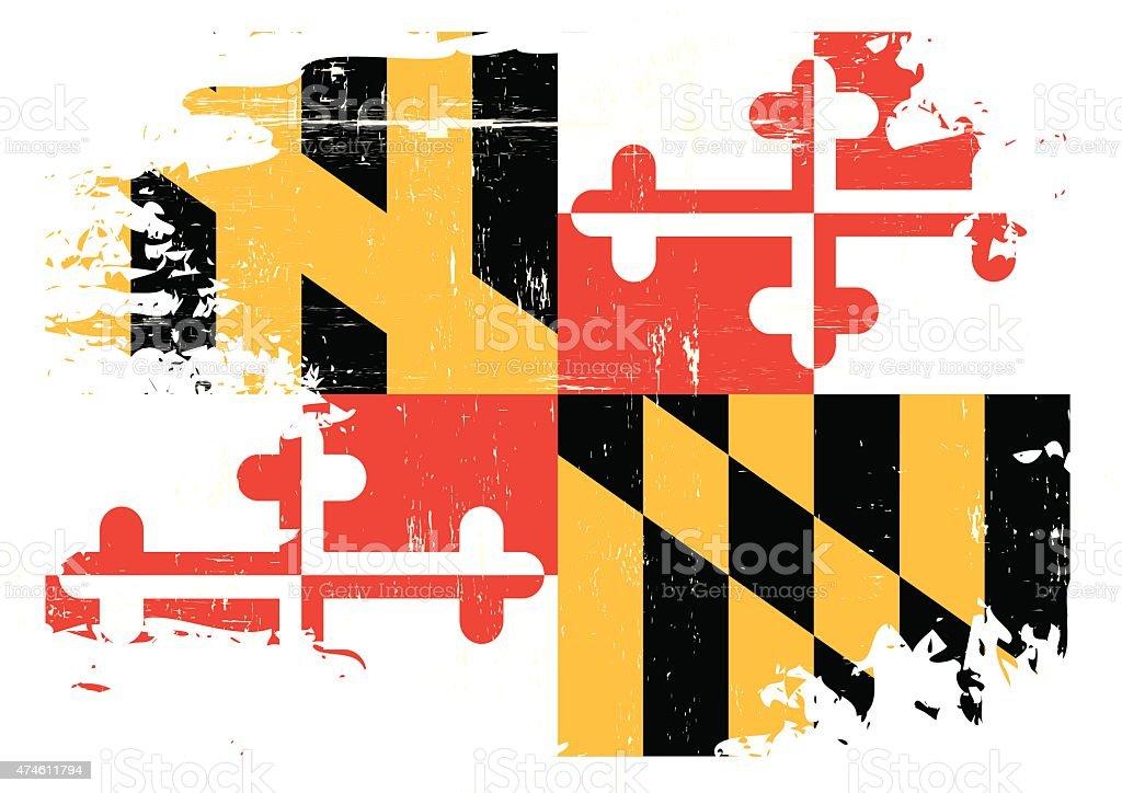 Scratched Maryland Flag vector art illustration