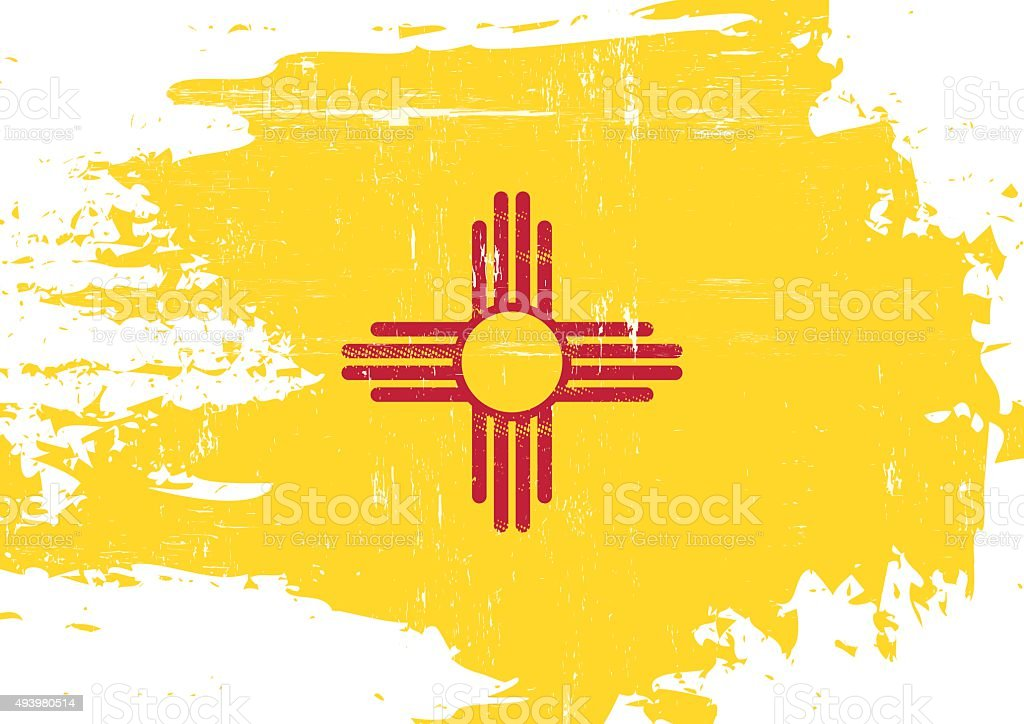 Scratched New Mexico Flag vector art illustration