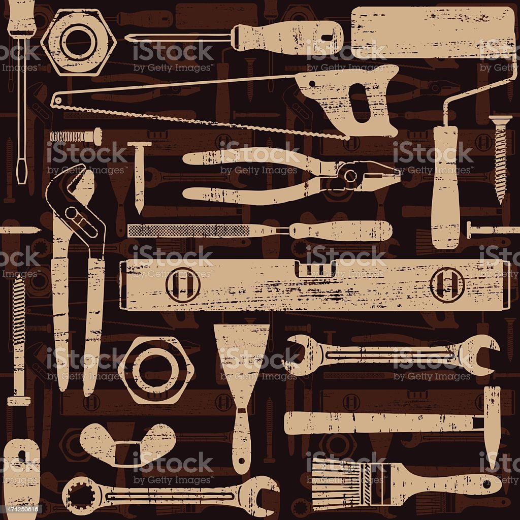 Scratched seamless pattern with various hand tools 3 vector art illustration
