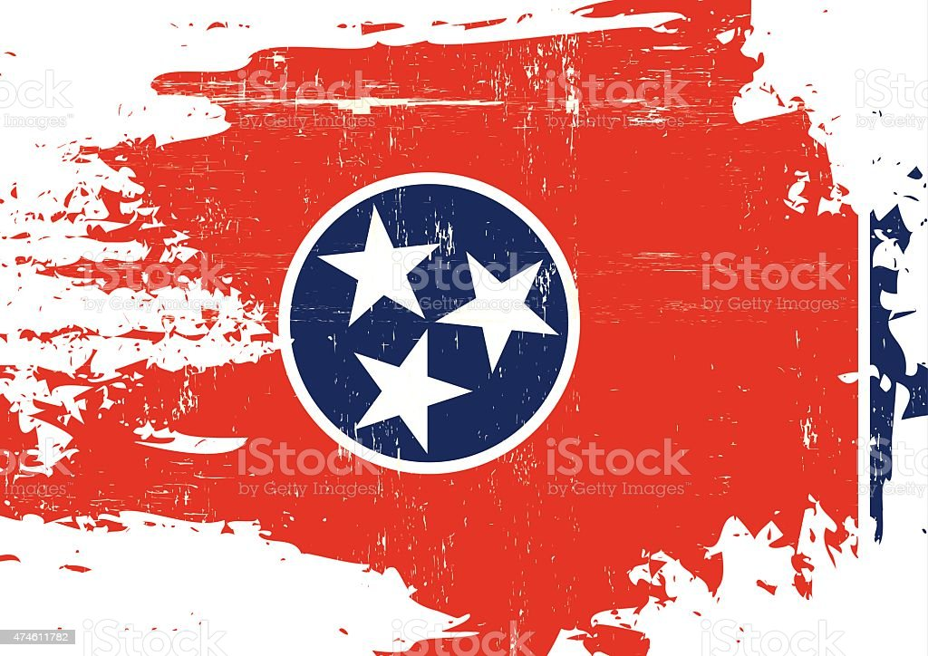 Scratched Tennessee Flag vector art illustration
