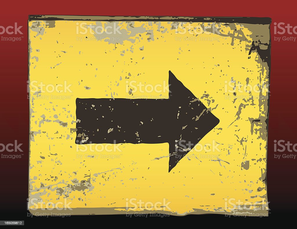Scratched yellow sign with arrow vector art illustration