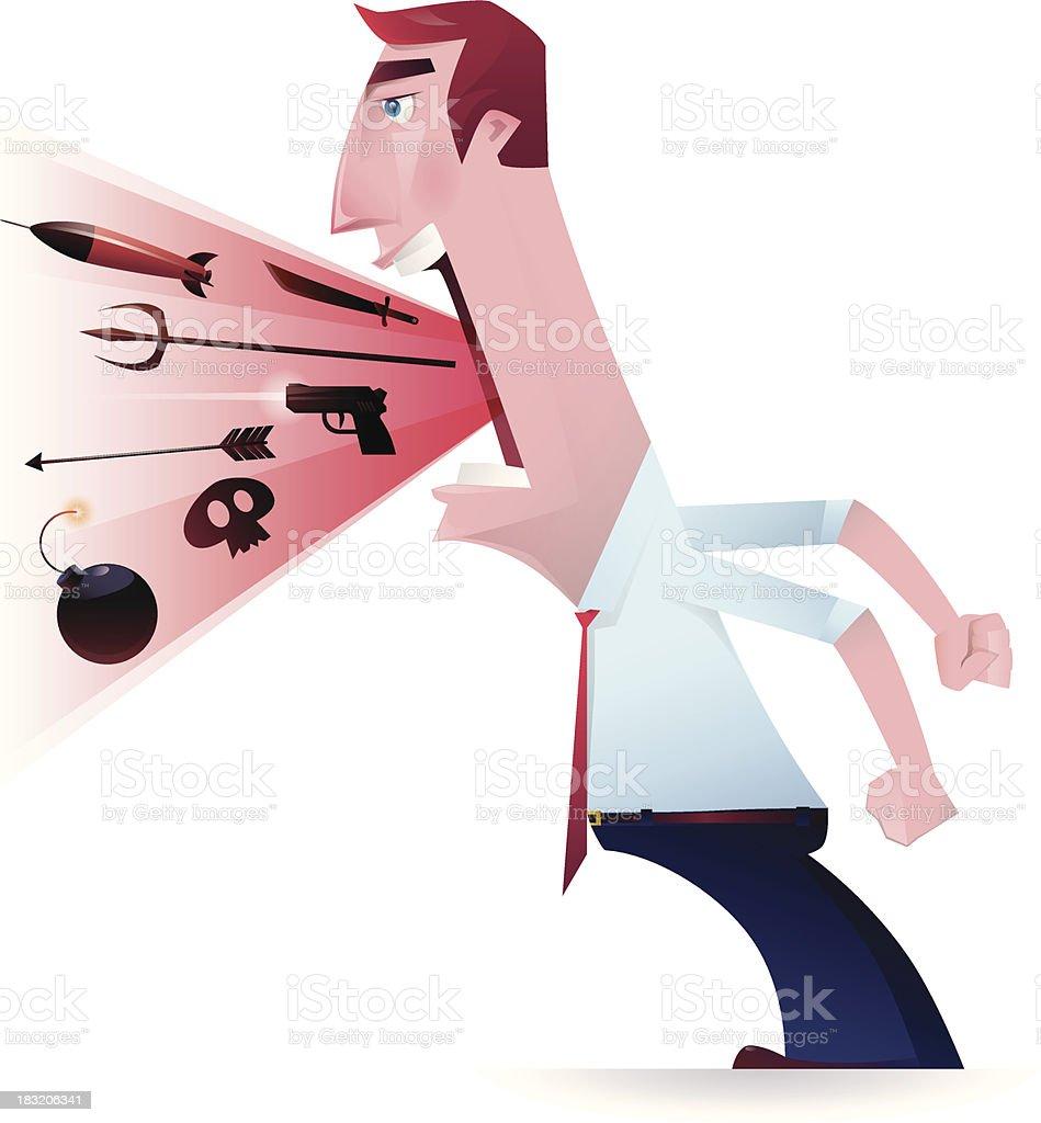 screaming and blaming vector art illustration