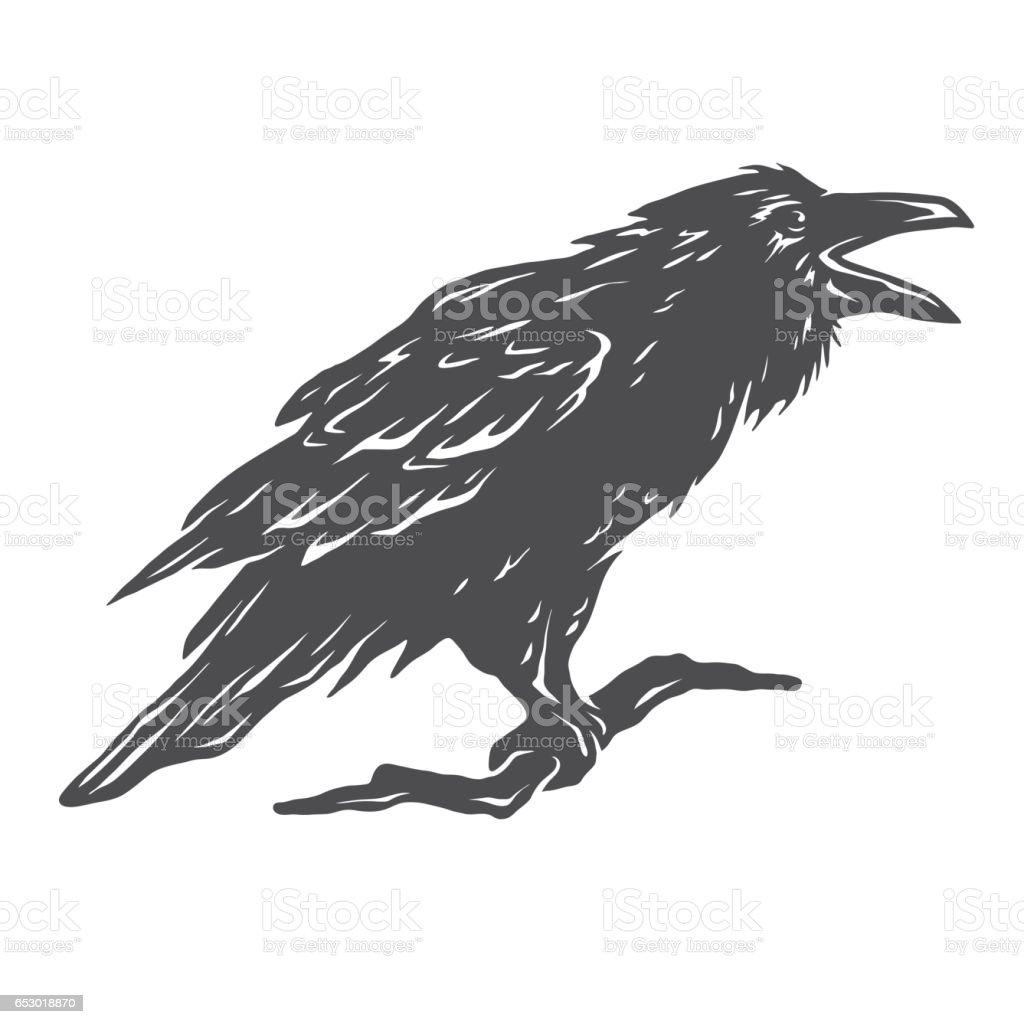 Screaming, black crows. vector art illustration