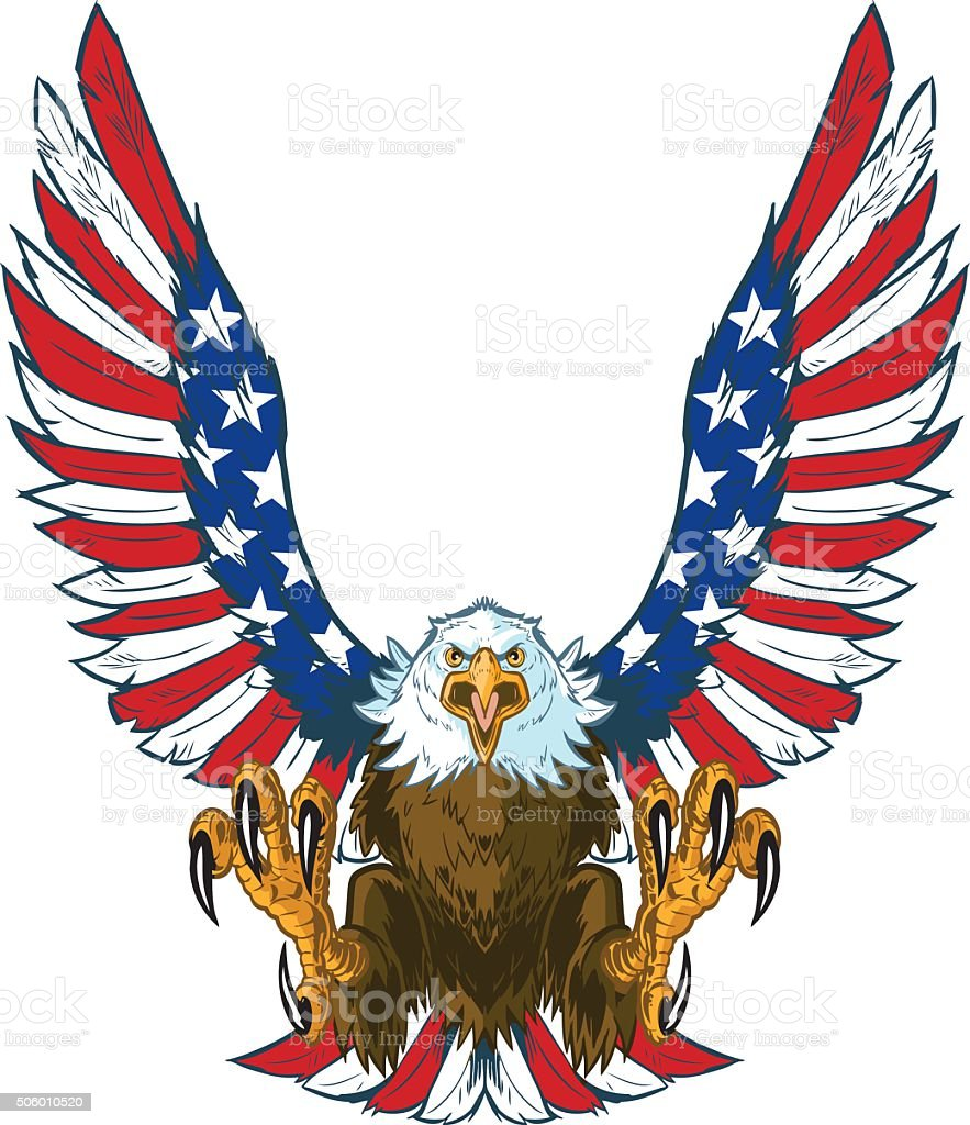 Screaming Eagle with American Flag Wings Vector Clip Art vector art illustration
