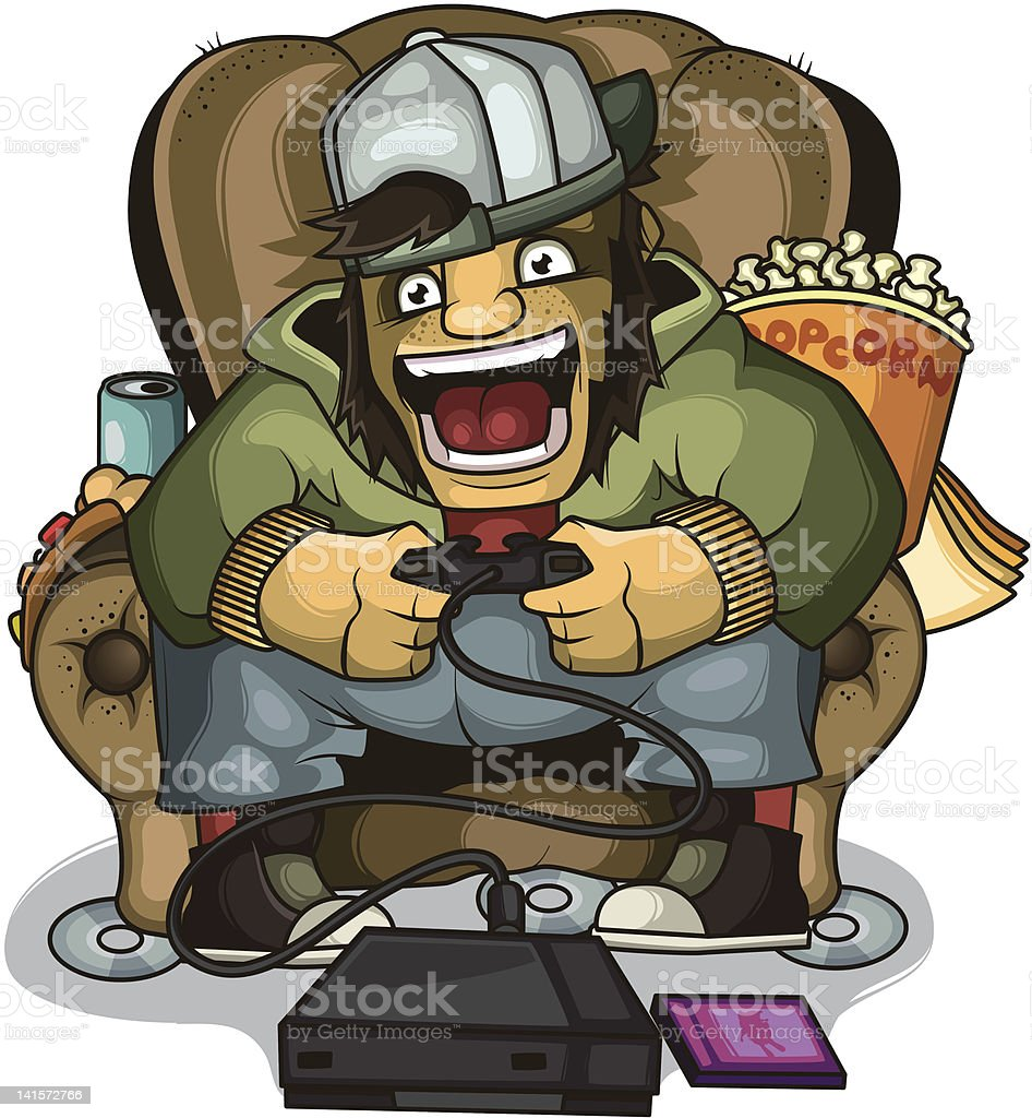 Screaming gamer in a chair royalty-free stock vector art