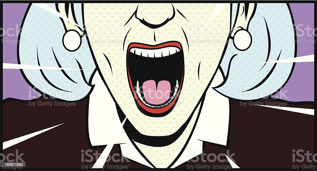 Screaming Old Lady Retro Style vector art illustration