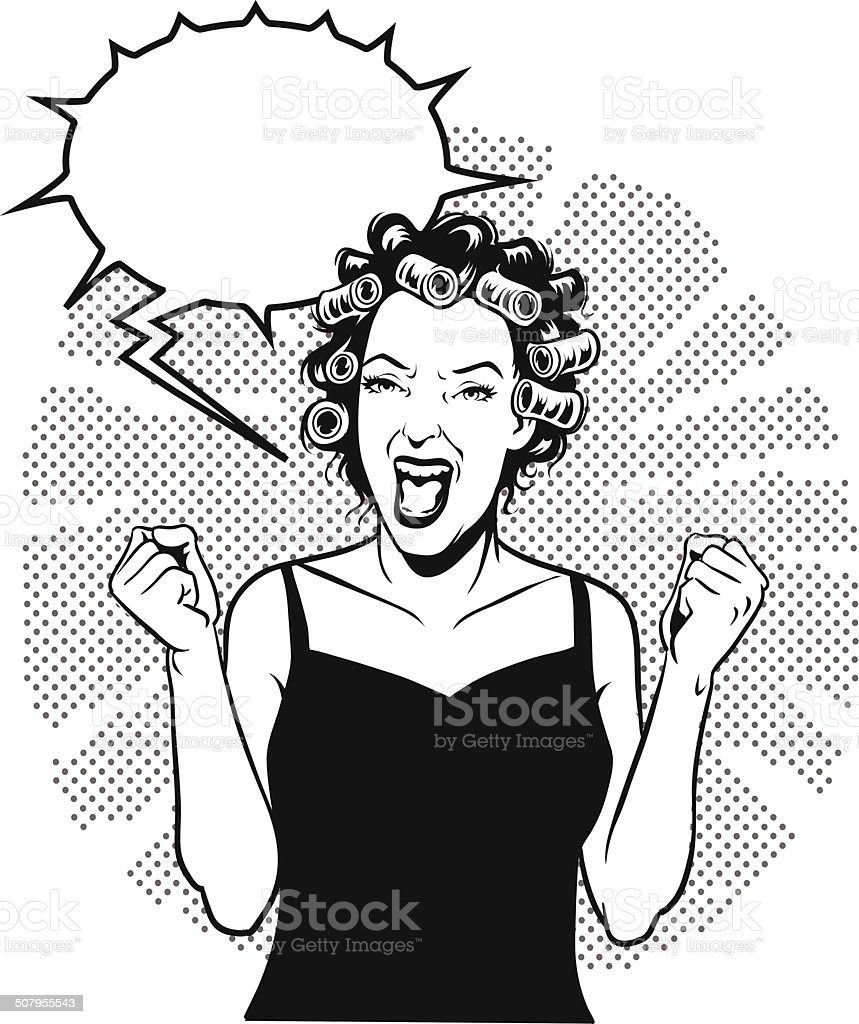 Screaming Retro Woman With Speech bubble vector art illustration