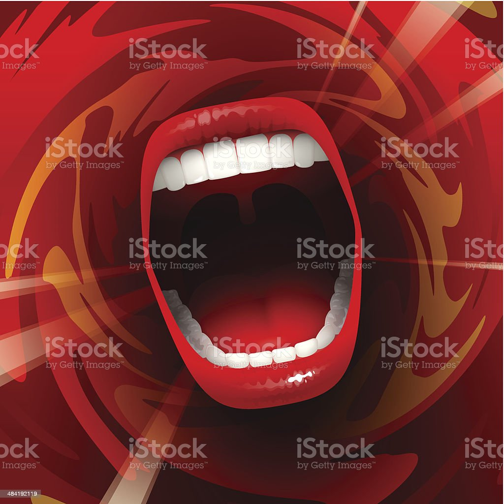 Screaming singing Mouth vector art illustration