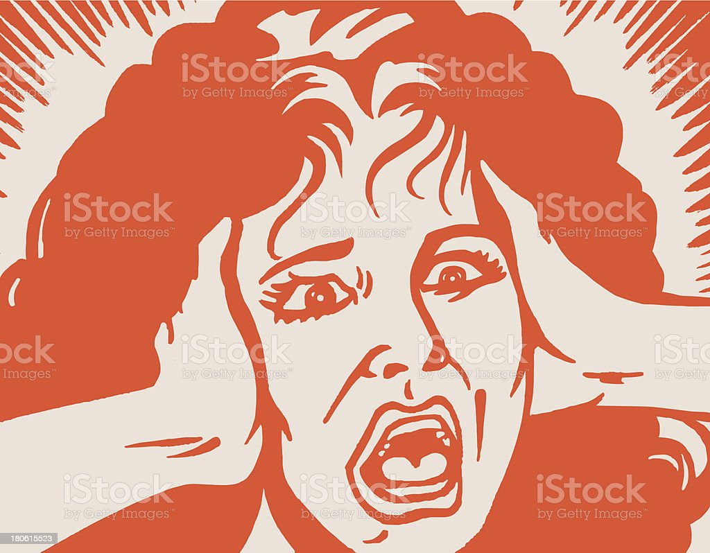Screaming Woman vector art illustration
