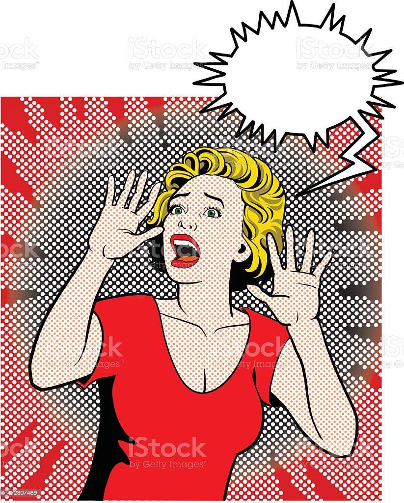Screaming Woman royalty-free stock vector art