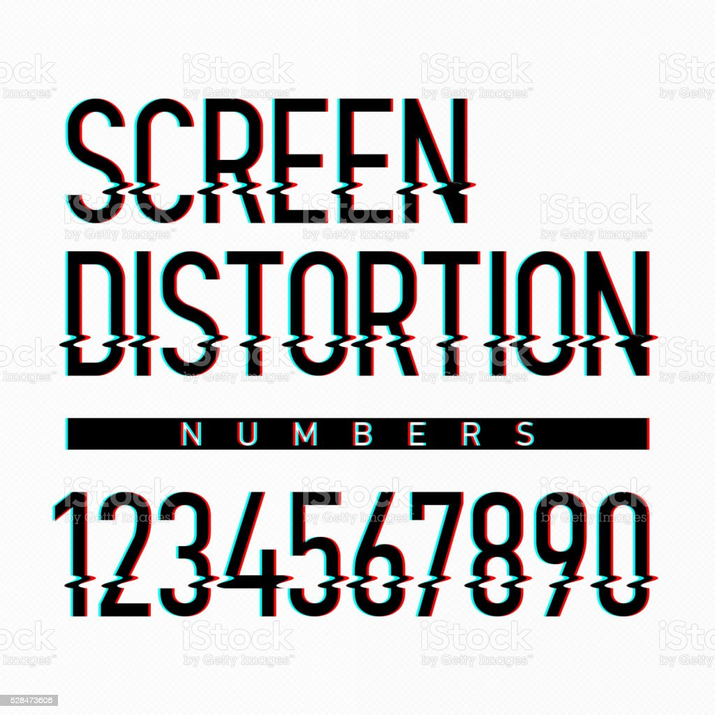 Screen distortion alphabet numbers vector art illustration