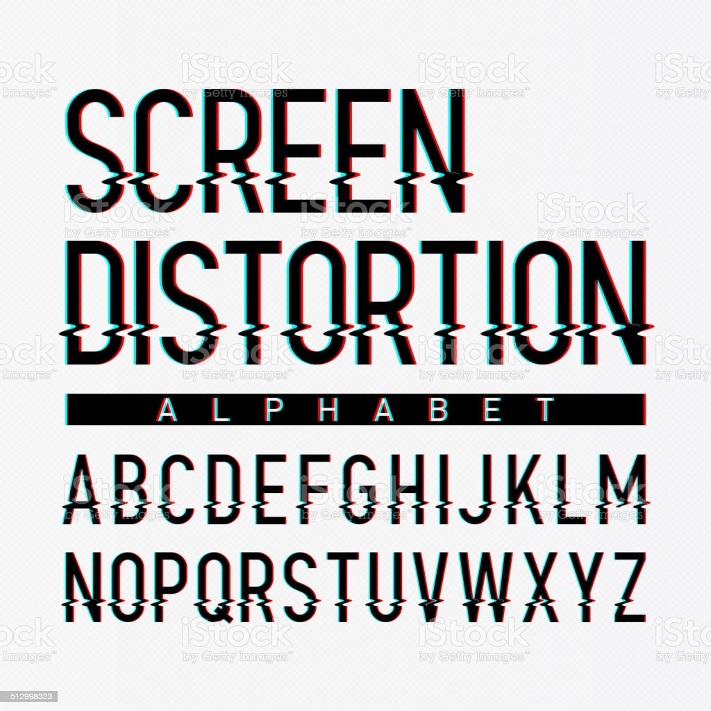 Screen distortion alphabet vector art illustration